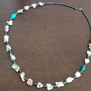"""14"""" Navajo white turquoise and hematite necklace"""